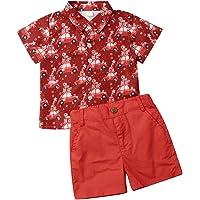 Bagilaanoe 2PCS Toddler Kids Baby Boys Christmas Outfits Short Sleeve Tops+Shorts Pants Clothes Costumes Set 12M-5T
