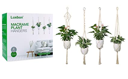 Amazon Com Luxbon 4pcs Macrame Plant Hanger Handmade Woven Cotton