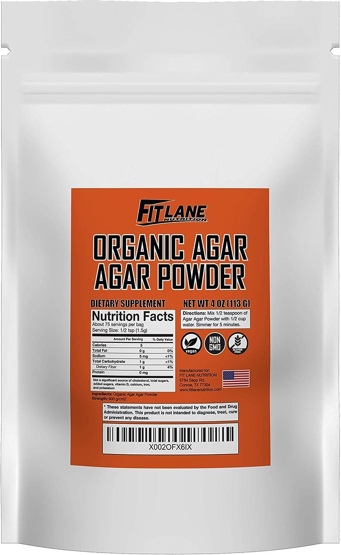 Agar Agar Powder. Organic Vegan (Vegetarian) Gelatin. Non GMO, Gluten Free and Nutrient Rich. 4 oz Bag, Unflavored.