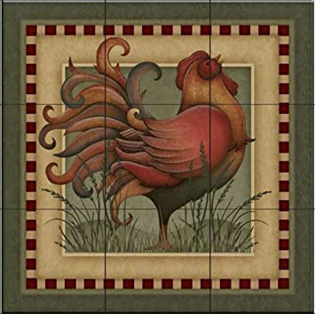 Amazon Com Ceramic Tile Mural Folk Rooster By Angela Anderson Home Improvement