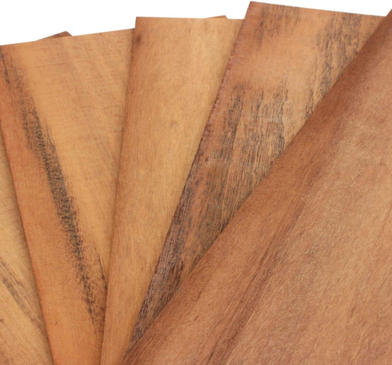 Sucupira Feuille de Placage Bois Panneau Bois Massif pour Bricolage bricoler Mod/élisme wodewa Placage de Bois 4mm Lot de 5 Plaques 30x14cm