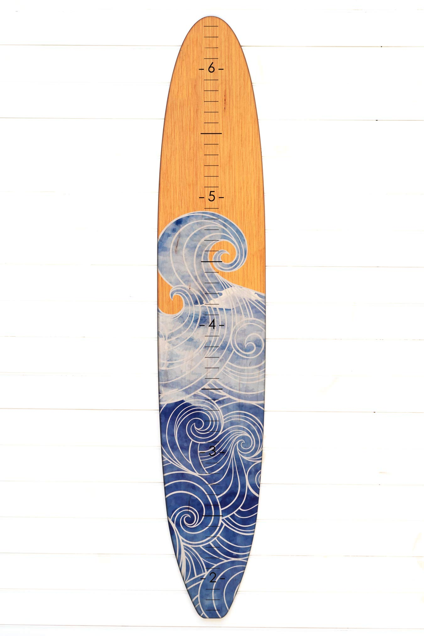 Wooden Surfboard Growth Chart for Boys | Baby Shower Gift | Baby Surfer Height Chart (Wave) by Headwaters Studio