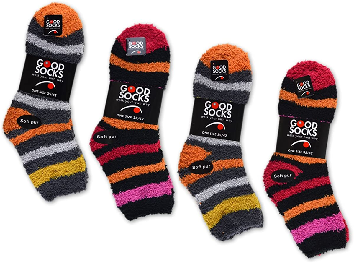 37610 6 Paar Kuschelsocken Bettsocken Ringel Damensocken  Damen Kuschel Socken