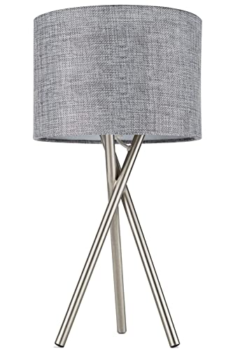 Kira Home Sadie 14 Tripod Mini Table Lamp 60W G9 Bulb, Gray Drum Shade, Brushed Nickel Finish – Mid Century Modern Design for Contemporary Spaces