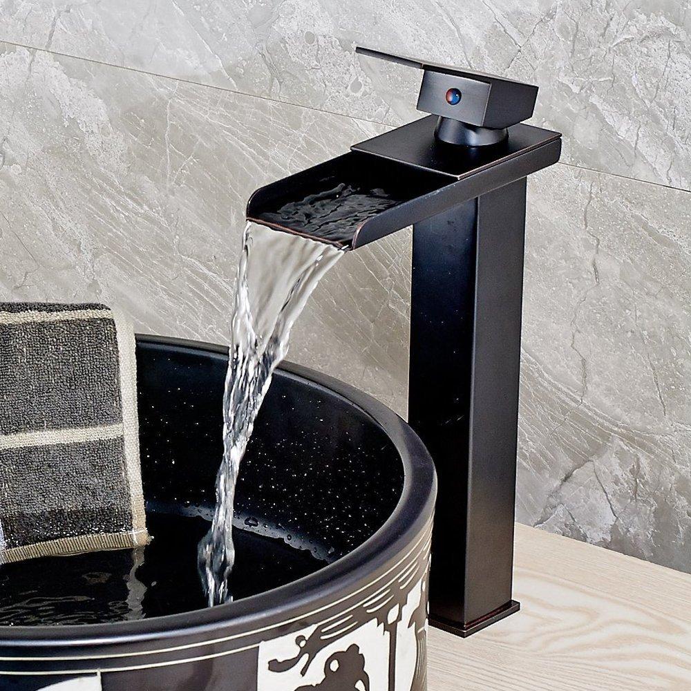 Senlesen Tall Waterfall Spout Bathroom Vessel Sink Faucet ...