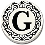 """CounterArt 'Initially Yours' Absorbent Stoneware Car Coaster, Monogrammed """"G"""""""
