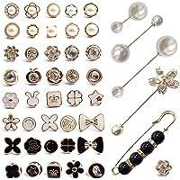 46 Piezas Mujer Camisa Broche Botones,Broche para Ropa Mujer,Broche Boton,Pequeño Broche de Seguridad para el Vestido…