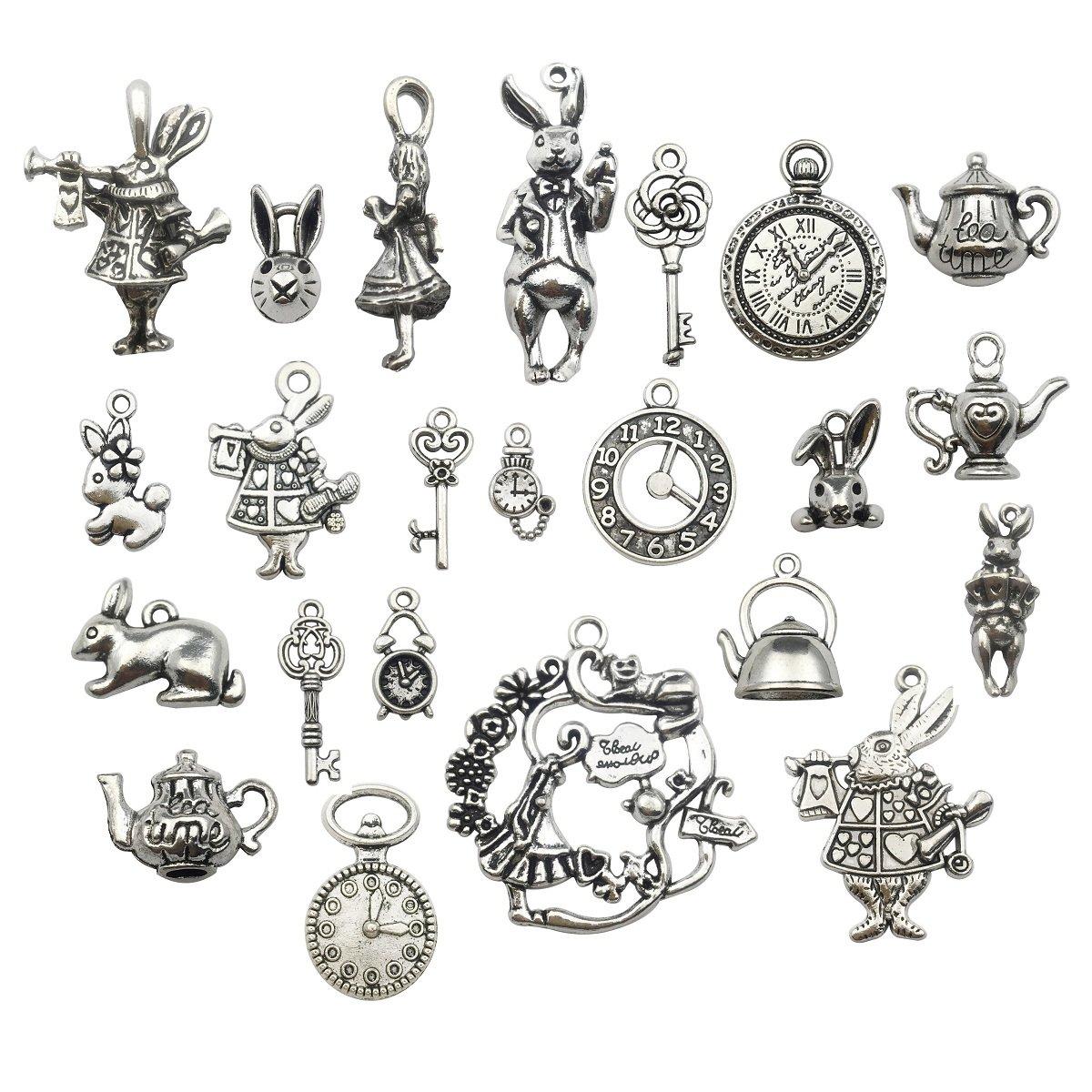 40pcs Antique Bronze Alice in Wonderland Fairy Tales Tea Party Steampunk Victorian Necklace Bracelet Charms (antique bronze) iloveDIYbeads cn0019cn0020