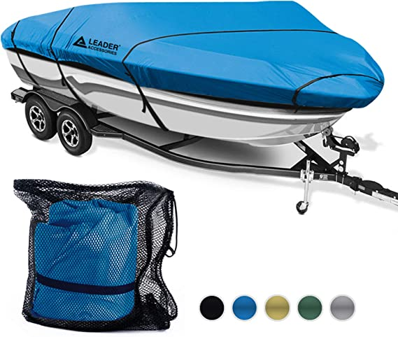 Leader Accessories 600D Waterproof Trailerable Runabout Boat Cover Fit V-Hull Tri-Hull Fishing Ski Pro-Style Bass Boats
