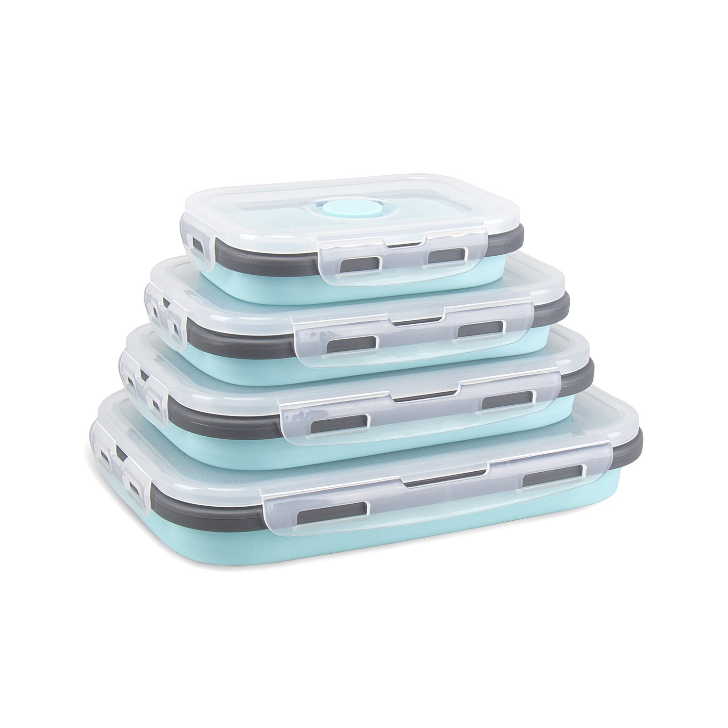 Collapsible Silicone Food Storage Containers 4 Pack Lunch Bento Box BPA Free for Camping, Hiking CP012