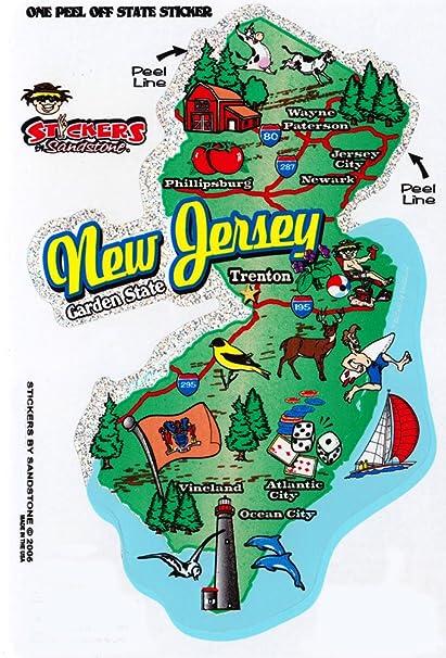 Amazon Com Flagline New Jersey State Map Outline Vinyl Sticker