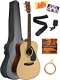 Yamaha Acoustic Guitar Bundle with Gig Bag, Tuner, Strap, Strings, Austin Bazaar Instructional DVD, Picks, and Polishing Cloth - Natural