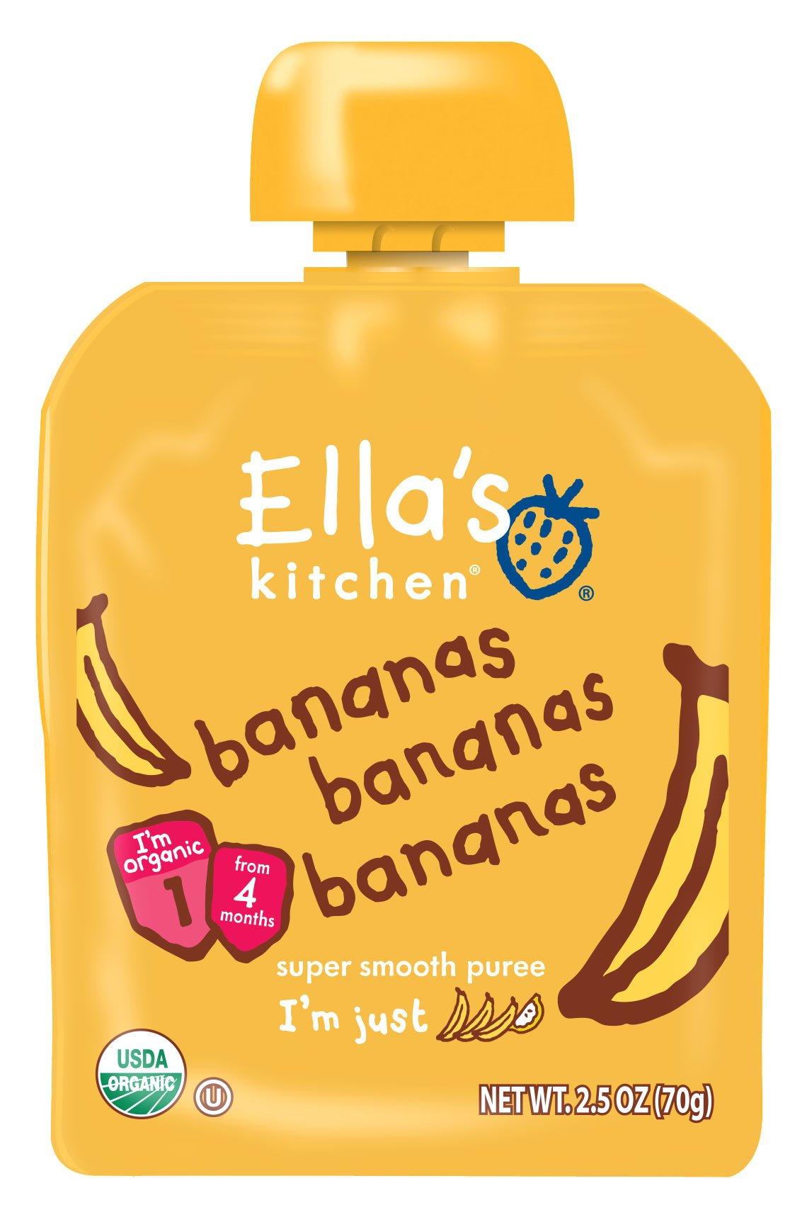 Ella's Kitchen Organic Stage 1, Bananas Bananas Bananas, 2.5 Ounce (Pack of 12) [Packaging May Vary]