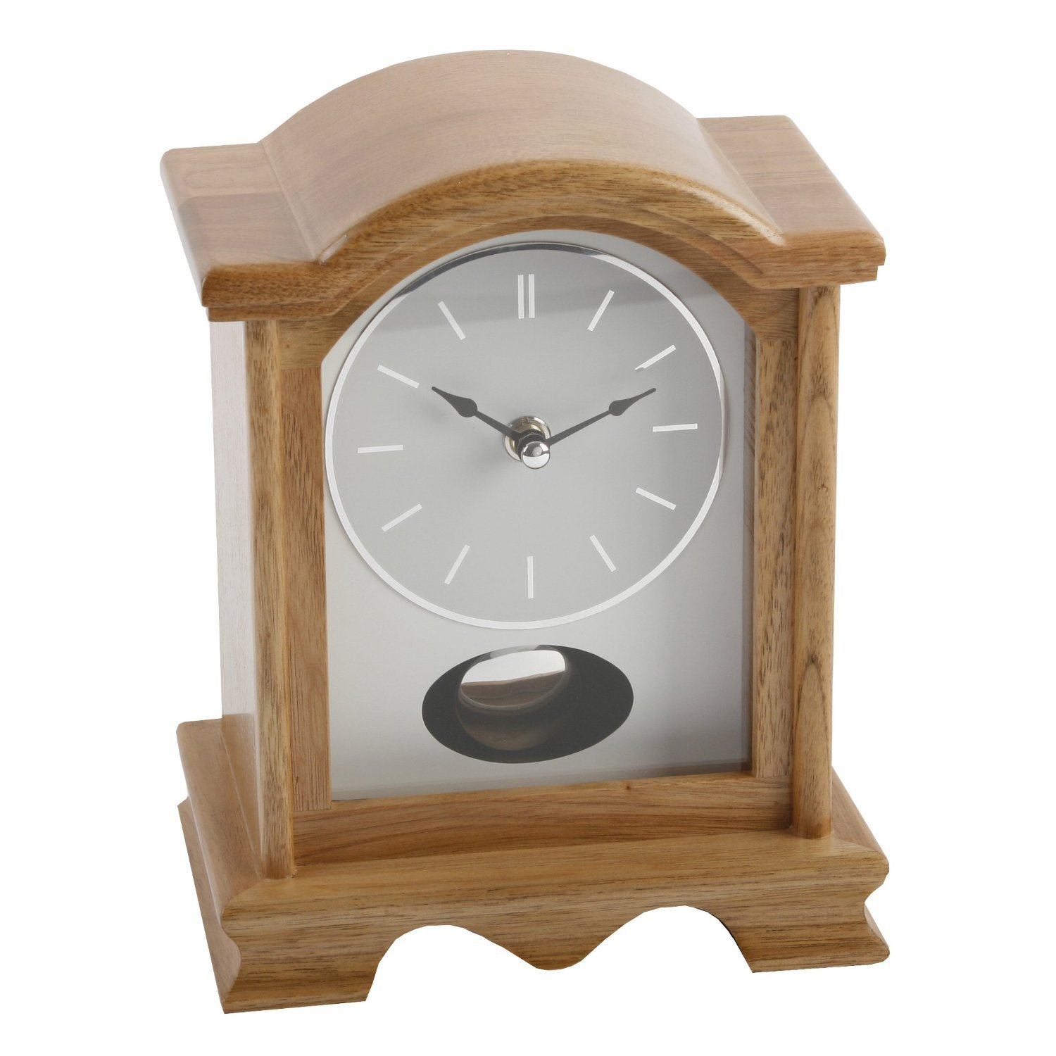 Broken Arch Oak Finish Wooden Mantel Clock with Pendulum Watching Clocks