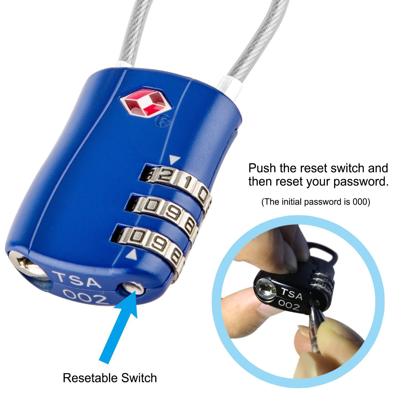 3-Digit Security Padlock Code Lock for Travel Suitcases Luggage Bag Case etc 2 Packs Diyife TSA Luggage Locks, Newest Version Silver Combination Padlocks
