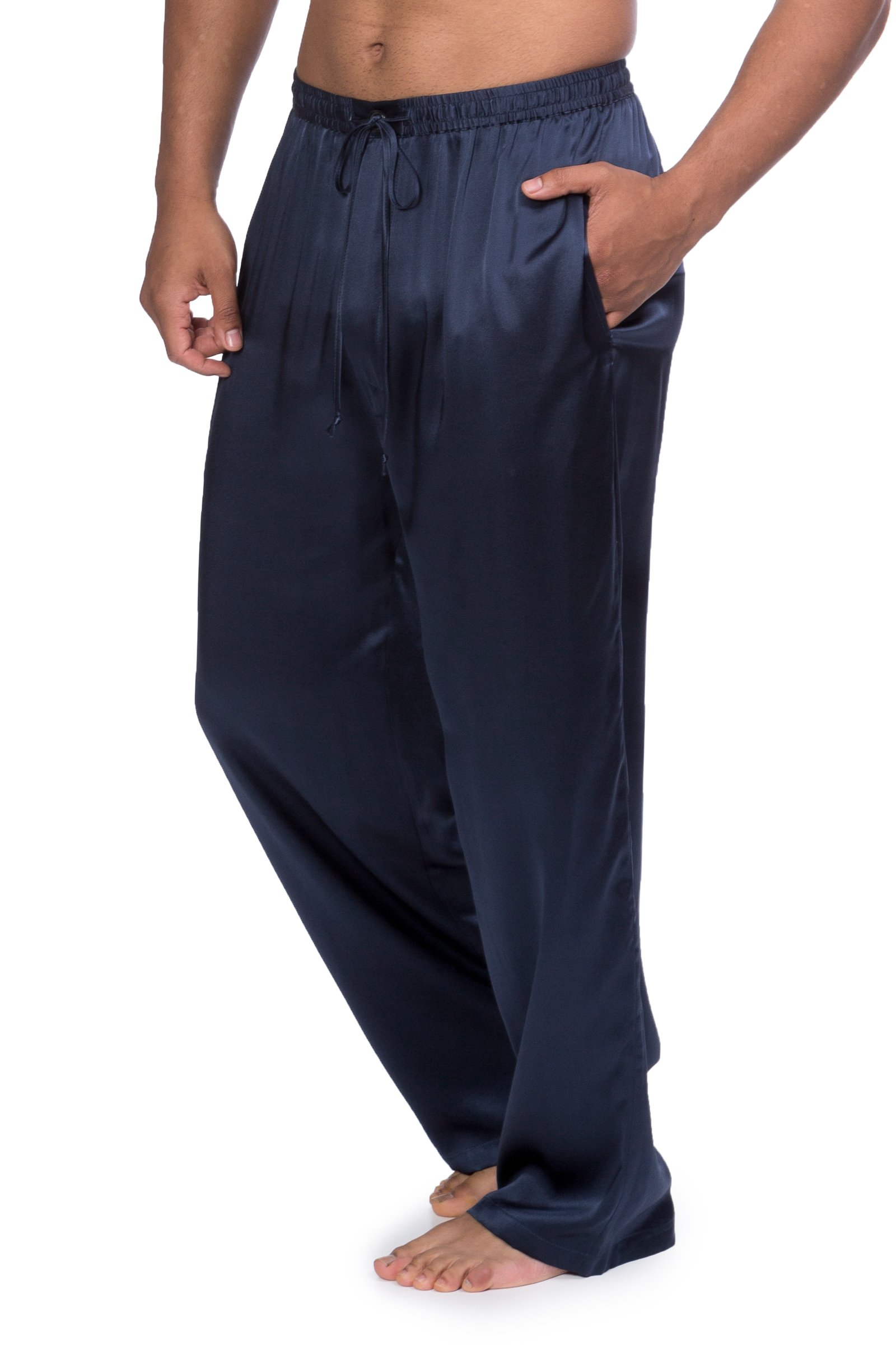 Men's Luxury Silk Pajama Pants (Hiruko, Midnight Blue, X-Large) Unique Valentine's Day Gifts for Him MS0201-MID-XL by TexereSilk (Image #5)