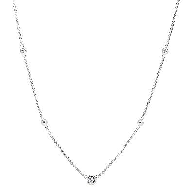 00d12c281a3 Amazon.com: Fossil Women's Glitz Sterling Silver Necklace Box Set ...