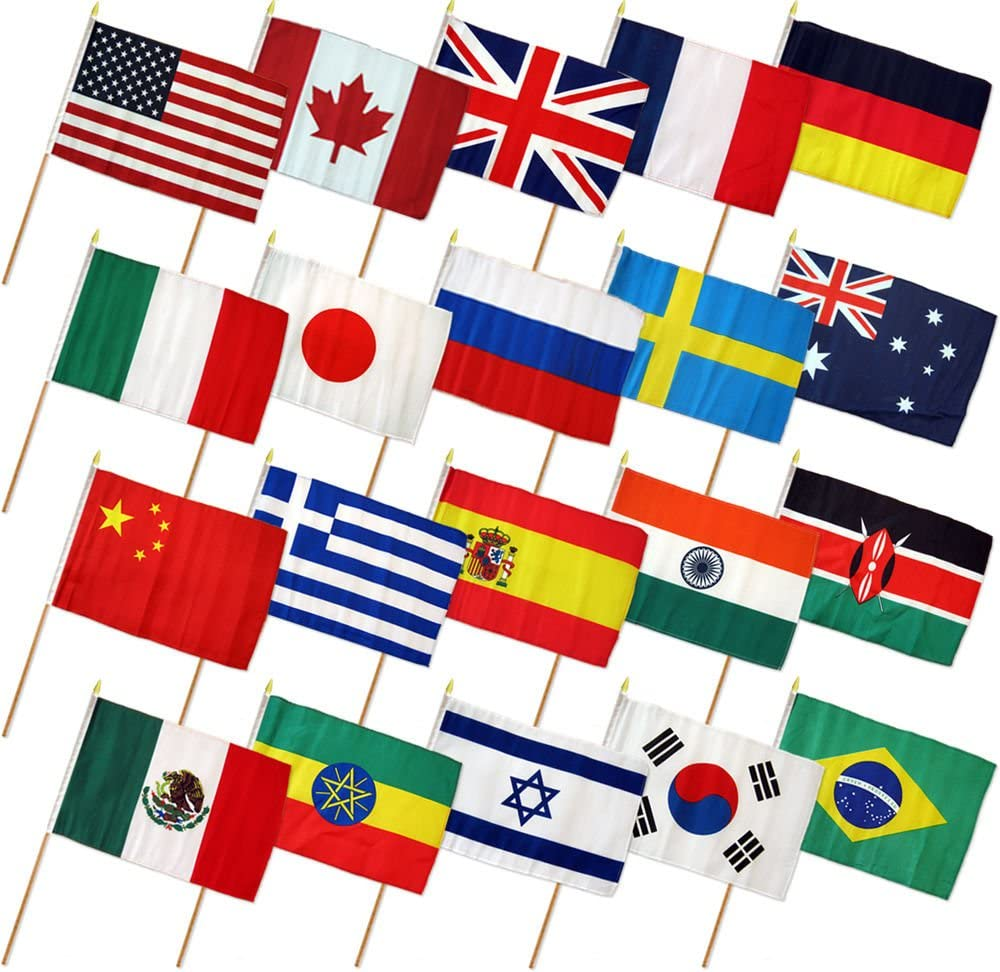 "Ant Enterprises 12x18 12""x18"" Set of 20 International Countries Stick Flag Wood Staff"