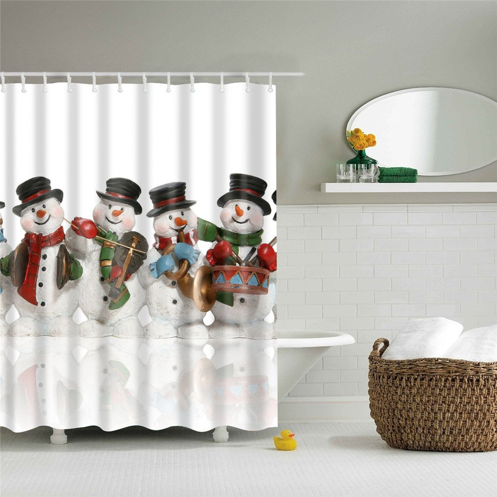 Christmas Cute Winter Snowman Series Shower Curtain With Hooks Eco-friendly (Cute Snowman, 66(W)X72(H) Inch) LEMONER