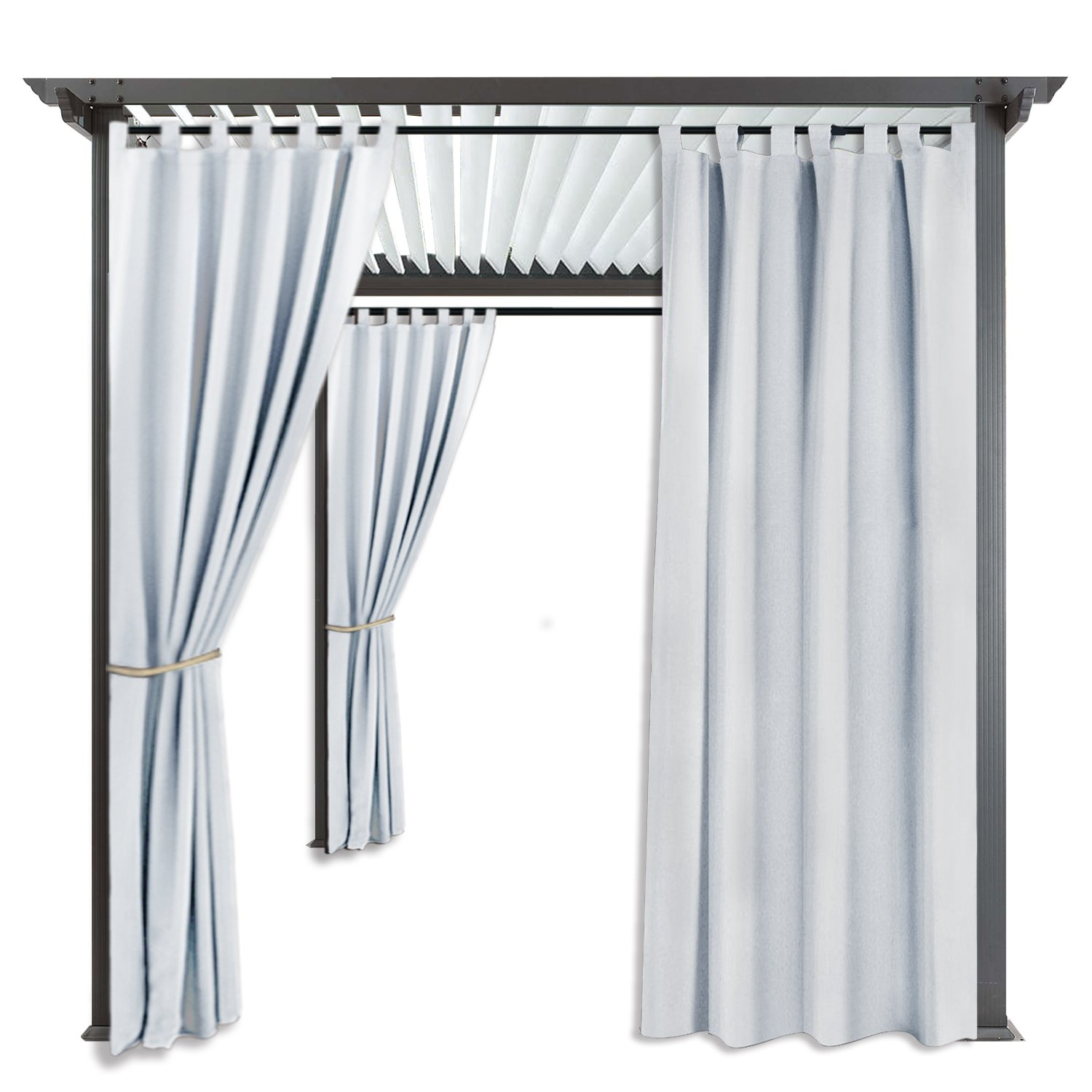 RYB HOME Large Outdoor Curtains - Outdoor Décor Heavy Duty Top Tab Water Repellent Sun Light Block Side Wall Panel for Cabana/Graden, 1 Panel, Width 52'' x Length 108'', Greyish White