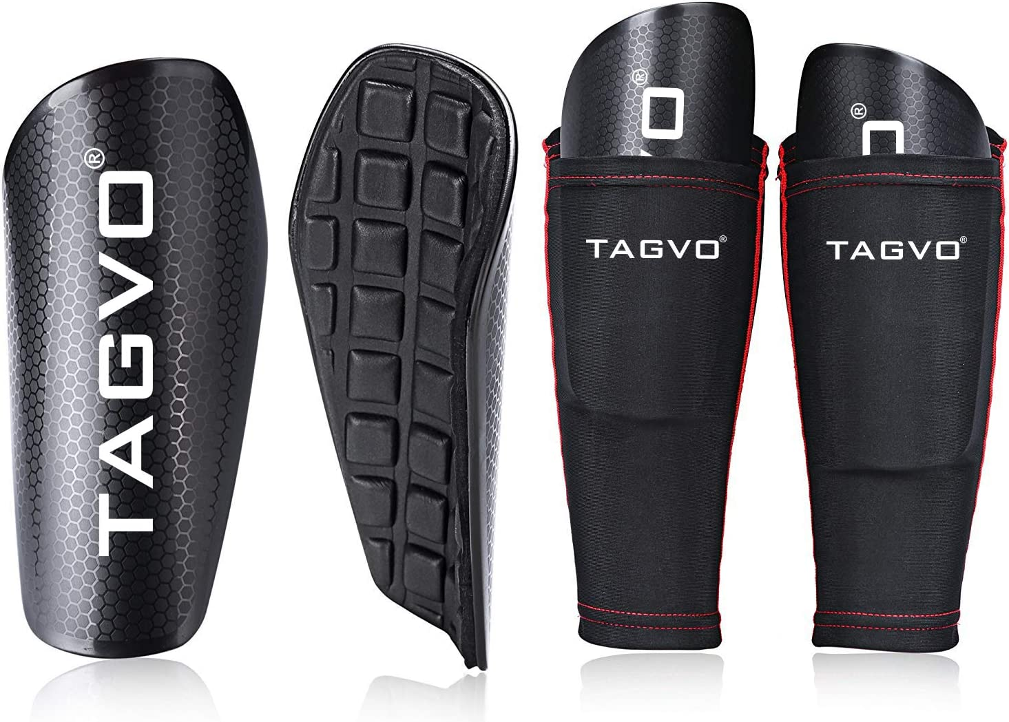 TAGVO Soccer Shin Guards Youth with Pocketed Compression Calf Sleeves, Kids Soccer Equipment Youth Sizes Performance Soccer Shin Pads for Boys Girls : Sports & Outdoors
