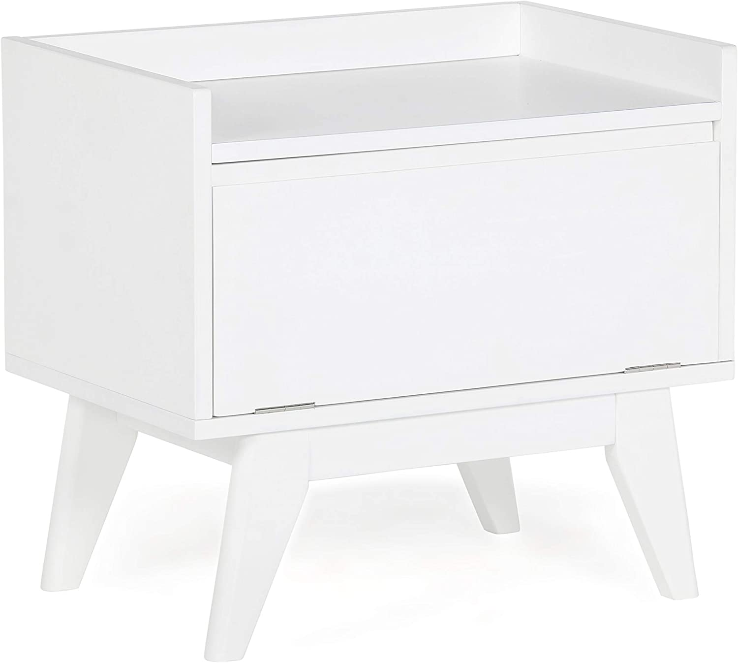 SIMPLIHOME Draper 20 inch H x 22 inch W Storage Hamper Bench in Pure White with Storage Compartment and 1 shelf, for the Bathroom, Mid Century Modern