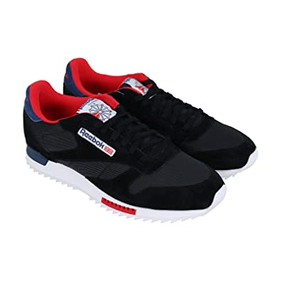 c865a3ec228 Reebok Classic Leather Ripple Clip Mens Black Suede Mesh Training Shoes 9.5
