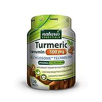 Liposomal Turmeric-Curcumin | 500mg per SVG | Piperine + Cyclodextrin | Nature's Essentials | Maximum Absorption Formula | 120 Count | Non-GMO | Gluten-Free | Vegetarian | Lab Verified | USA (120)