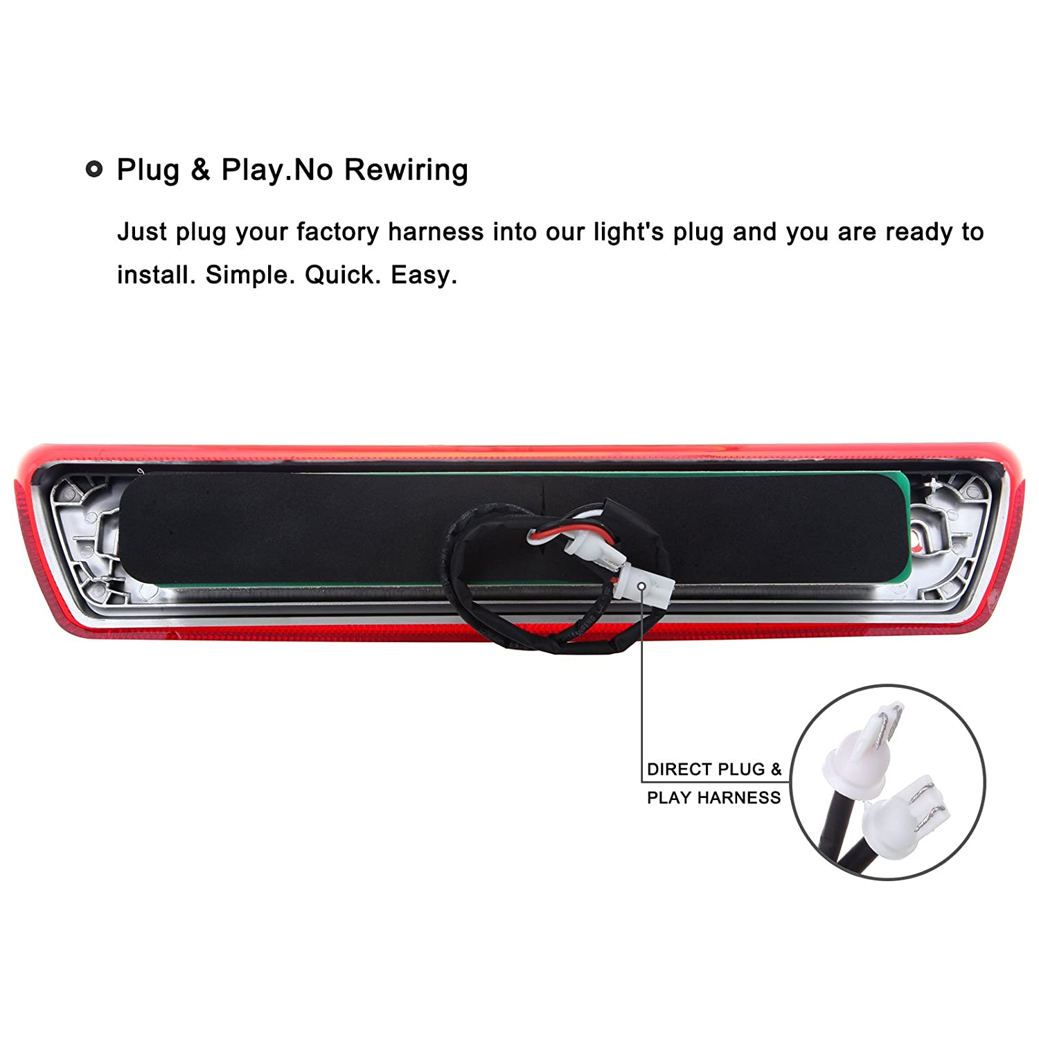 High Mount Brake Lights Replacement fit for 2009-2014 Ford F150 Full Red Lens LED 3RD Third Brake Light Cargo Light Rear Tail Lights Clear