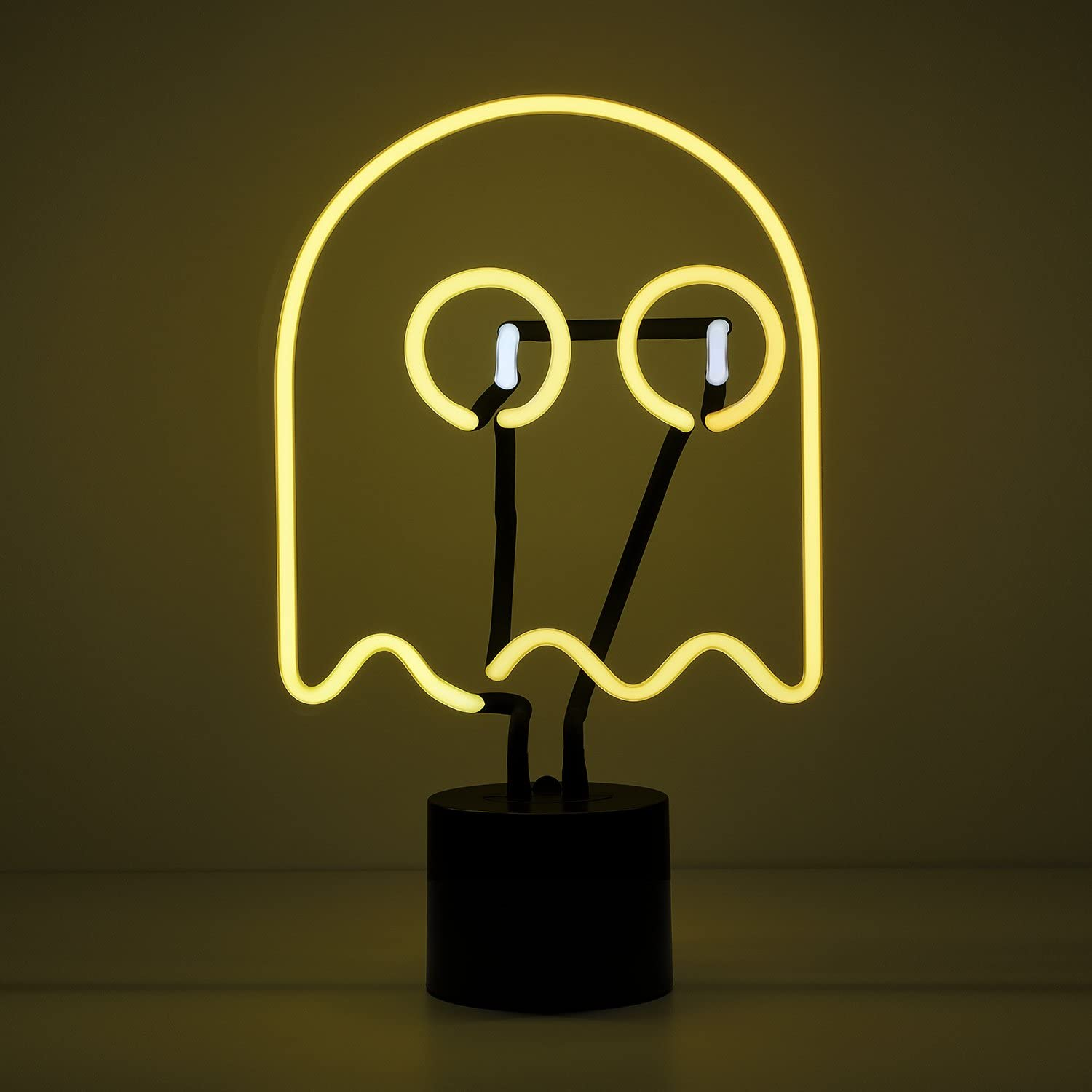 Amped & Co Neon Ghost Desk Light, Real Neon, Yellow and White, Large 14 x 9 inches, Home Decor Neon Signs for Unique Rooms