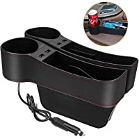 JESTOP Car Seat Gap Filler, 2 Packs Leather Car Front Seat Storage with Dual USB Charging, Auto Center Console Organizer…