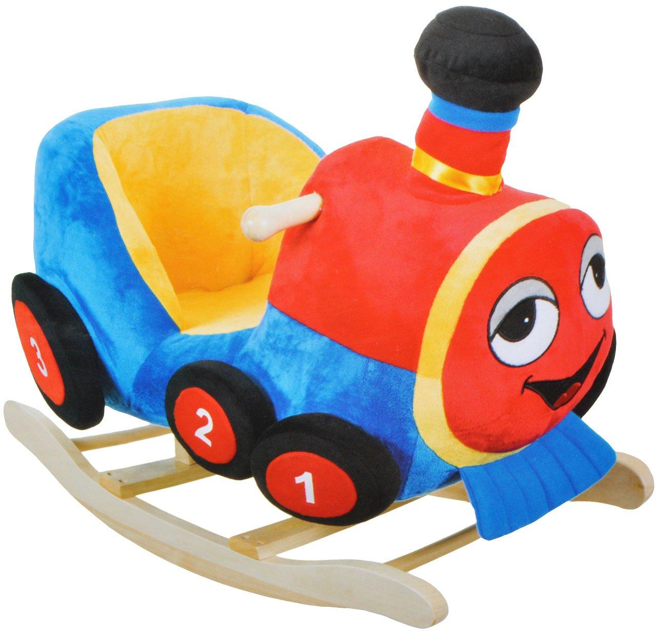 XL Plüsch und Holz Schaukelpferd - Eisenbahn Lok Zug - Schaukeltier Kind Schaukel Schaukelzug Tier Tiere Plüschschaukel für Kinder Jungen Fahrzeug