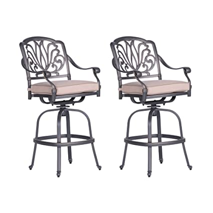 Sensational Amazon Com Ipatio Patio Athens Bar Stool With Cushion All Andrewgaddart Wooden Chair Designs For Living Room Andrewgaddartcom