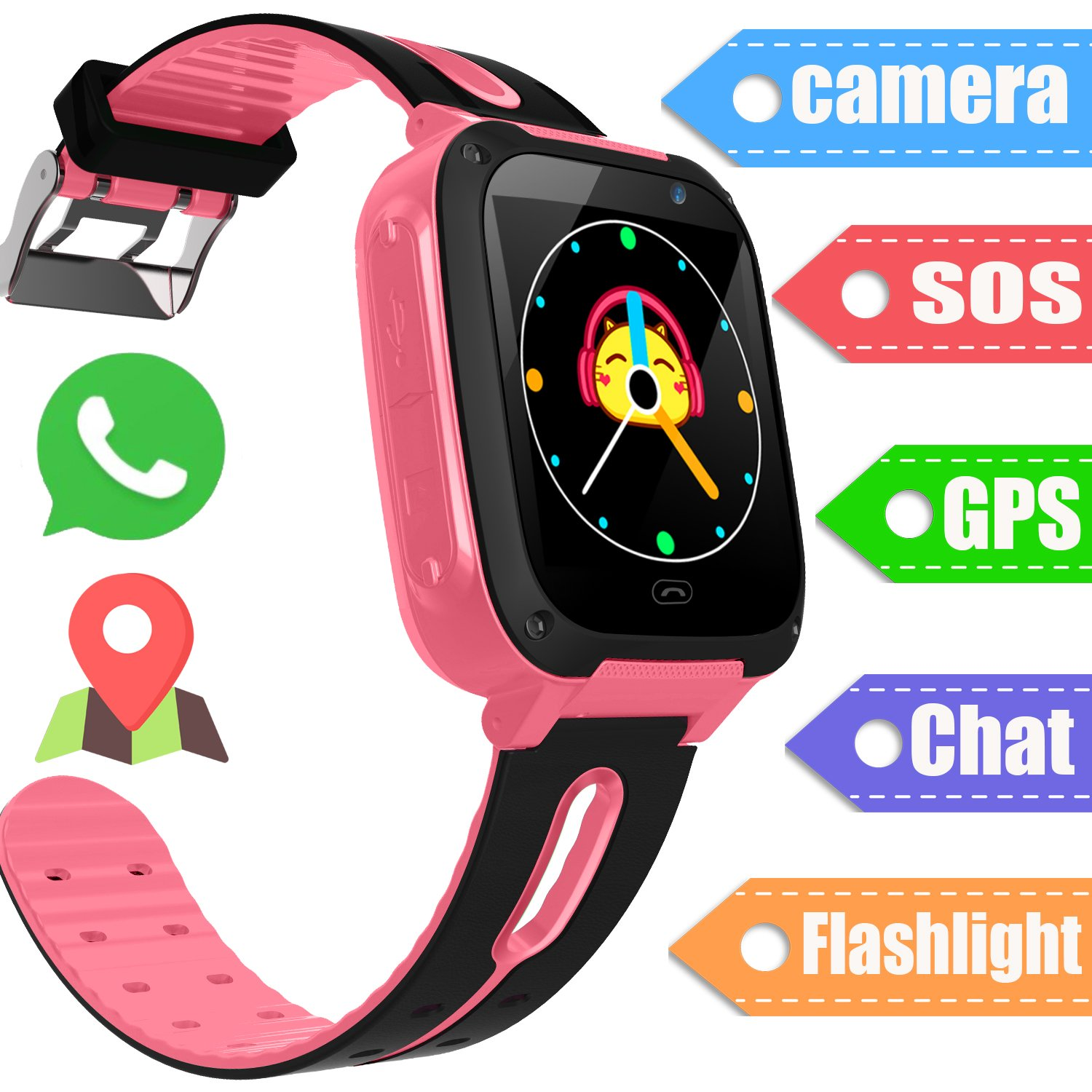 Kids Smart Watch GPS Tracker - Smart Wrist Watch Phone for 3-12 Year Old with SOS Camera GPS Tracker Sim Card Slot Game Smartwatch Educational Toys Summer Holiday School Gift for Boys Girls