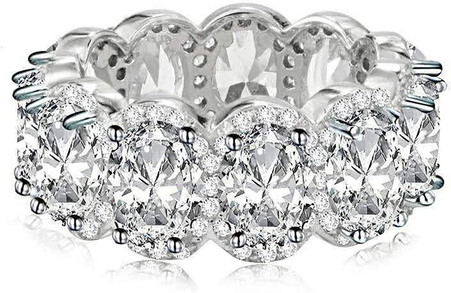 Amazon Com Luxury Lady Promise Ring 11pcs Aaaaa Cz Stone 925 Sterling Silver Engagement Wedding Band Ring 5 Jewelry