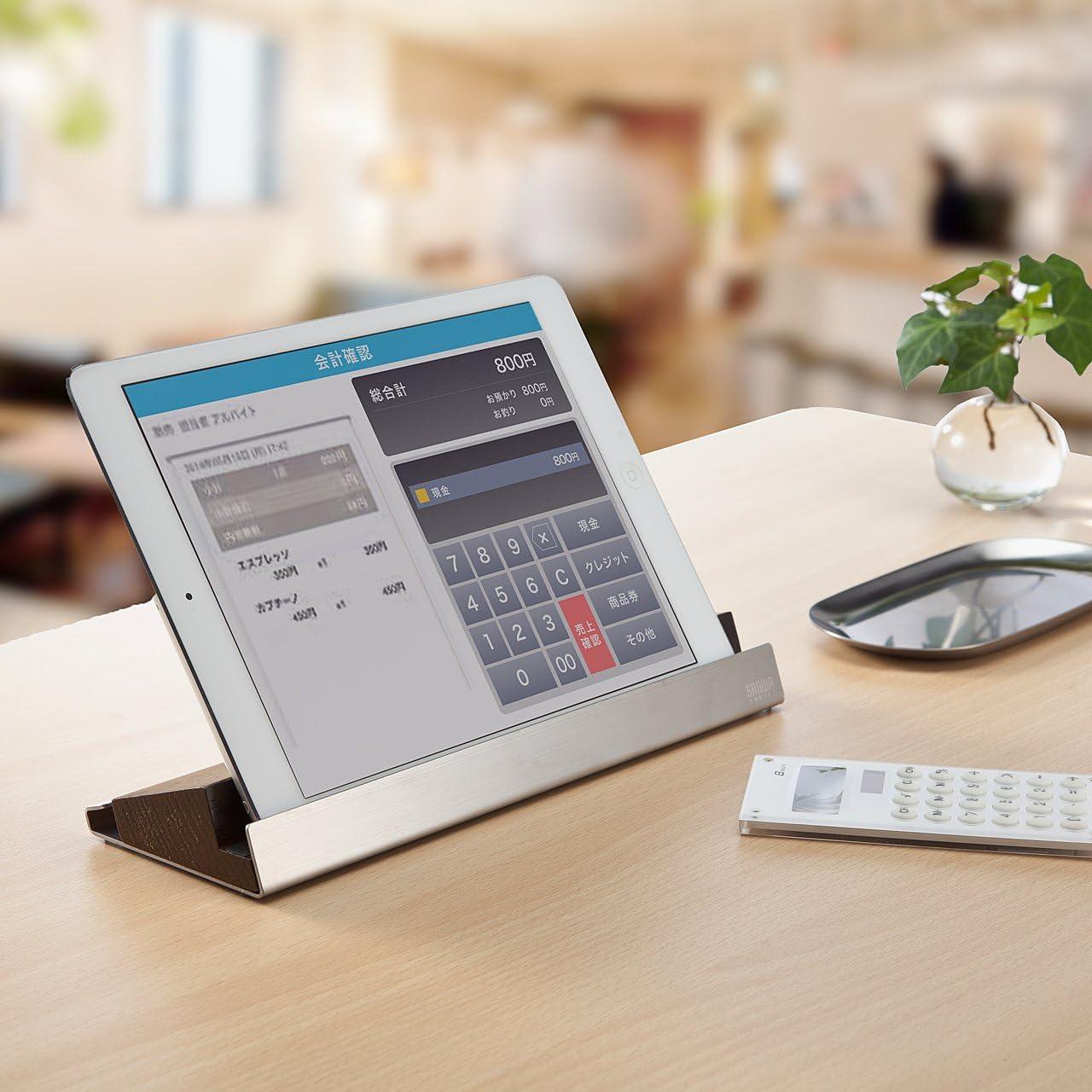 サンワダイレクト iPad・タブレット・スマートフォン スタンド 木製オーク×ステンレス素材 iPhone X iPhone 8 /8 Plus iPad Pro 10.5インチ ipad mini 対応 200-STN020S