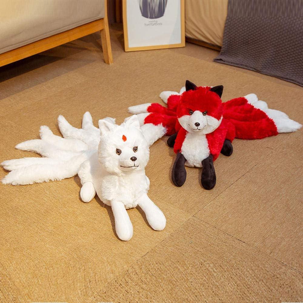 GYYCV Mignon Doux Blanc Rouge Ninetails Renard en Peluche Jouets Animaux en Peluche Kitsune Poup/ées Cadeaux Cr/éatifs pour Filles Enfants Enfants Mignon Cadeau danniversaire 60 Cm