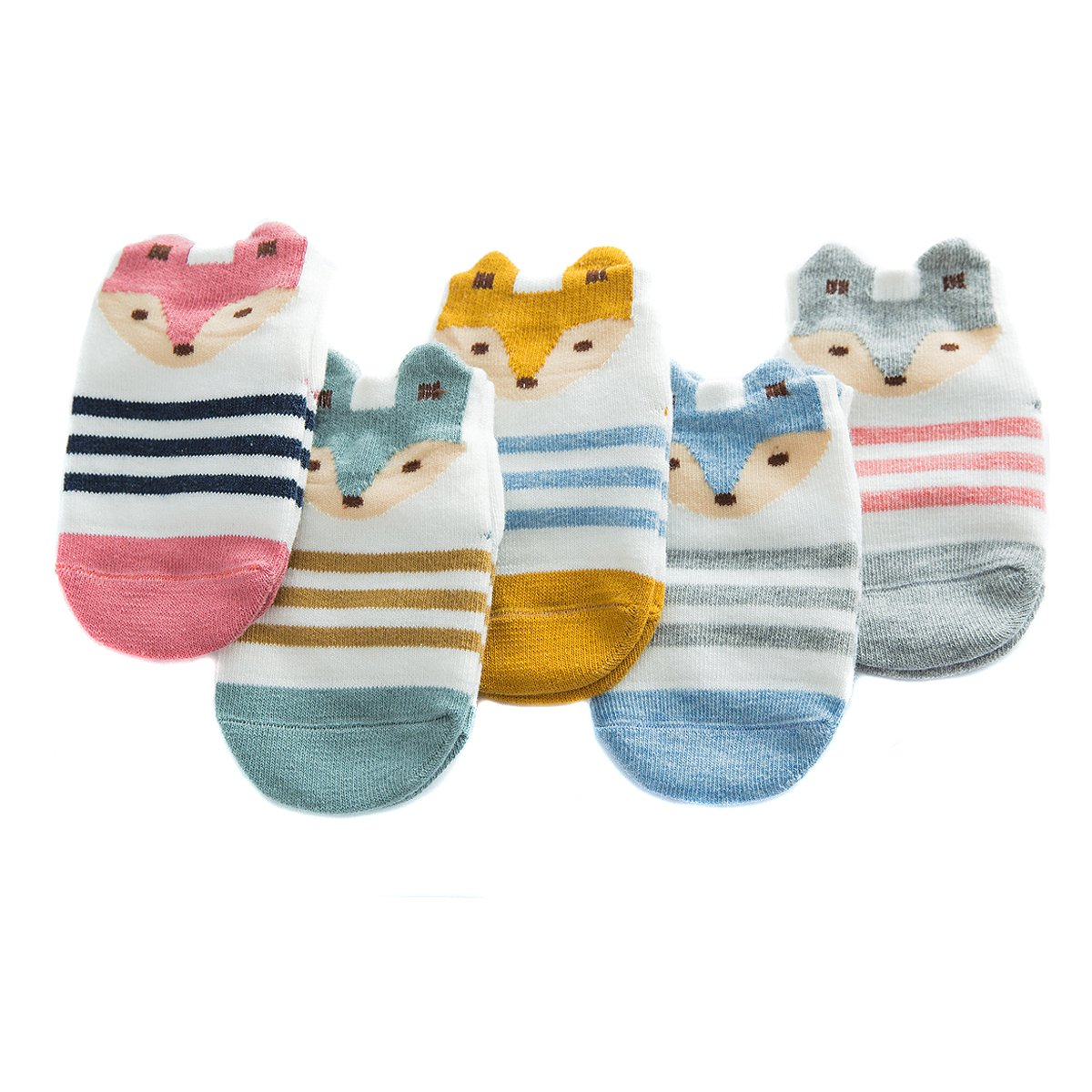 Fairy 5 Pairs Cartoon Cute Animals Fox Non Skid Cotton Baby Socks Stripes Socks (12 - 24 Months) by Fairy Socks (Image #1)