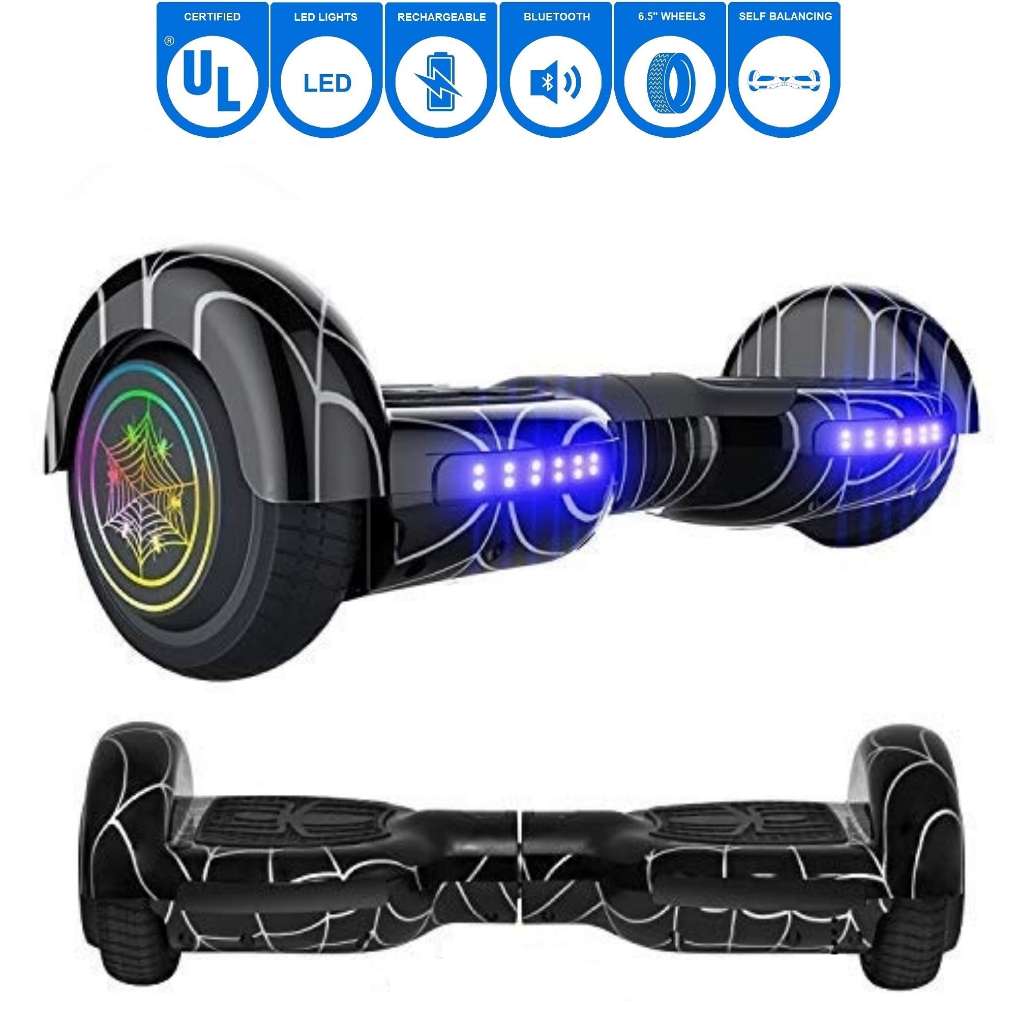 NHT 6.5'' inch Aurora Hoverboard Self Balancing Scooter with Colorful LED Wheels and Lights - UL2272 Certified Carbon Fiber/Spider/Built-in Bluetooth Speaker Available (Spider Black)