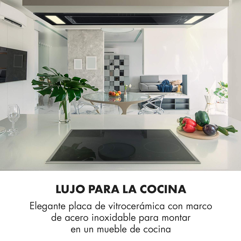 Klarstein Virtuosa Slide Placa vitrocerámica - Placa de cocina encastrable , 4 zonas cocción , Panel táctil , Desconexión automática , Protección ...
