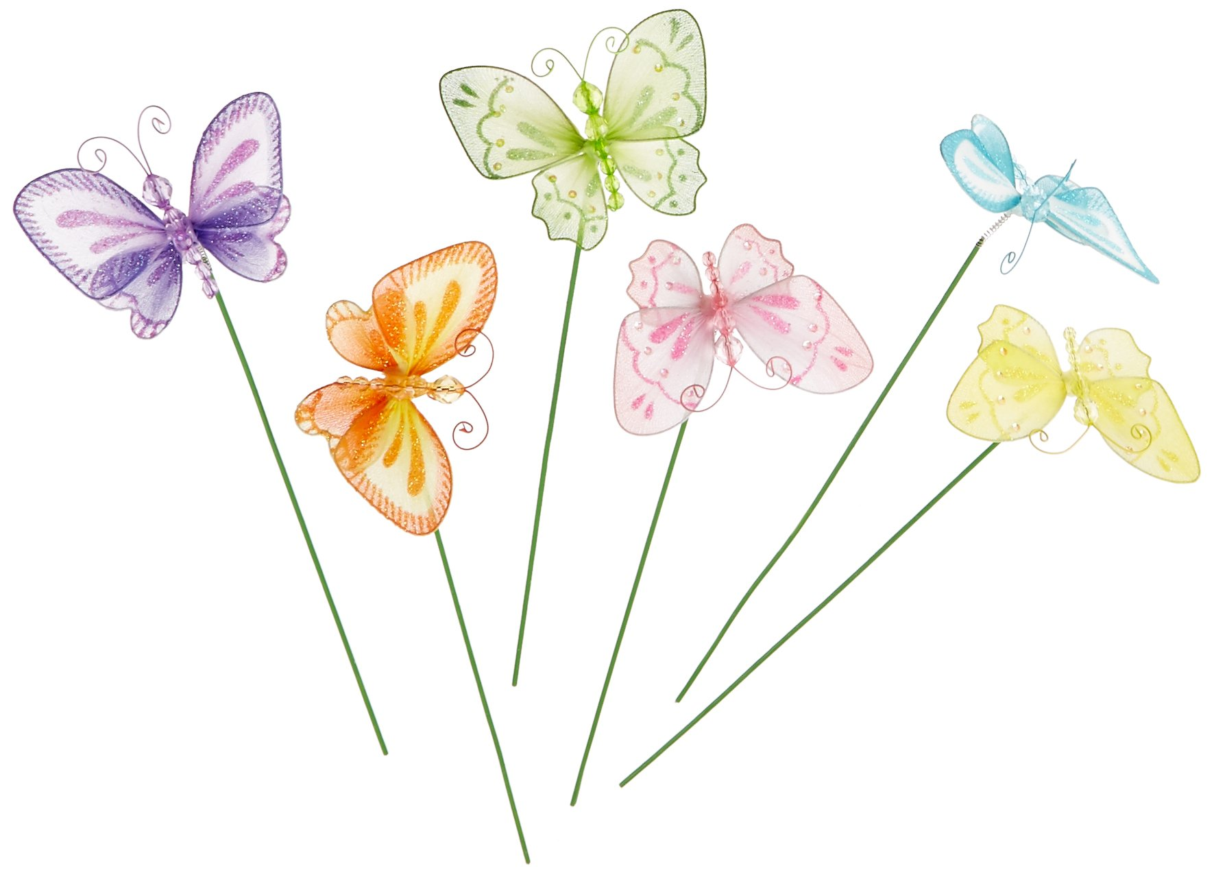 Set of 12 Two Style Assorted Colorful Butterfly Floral Picks