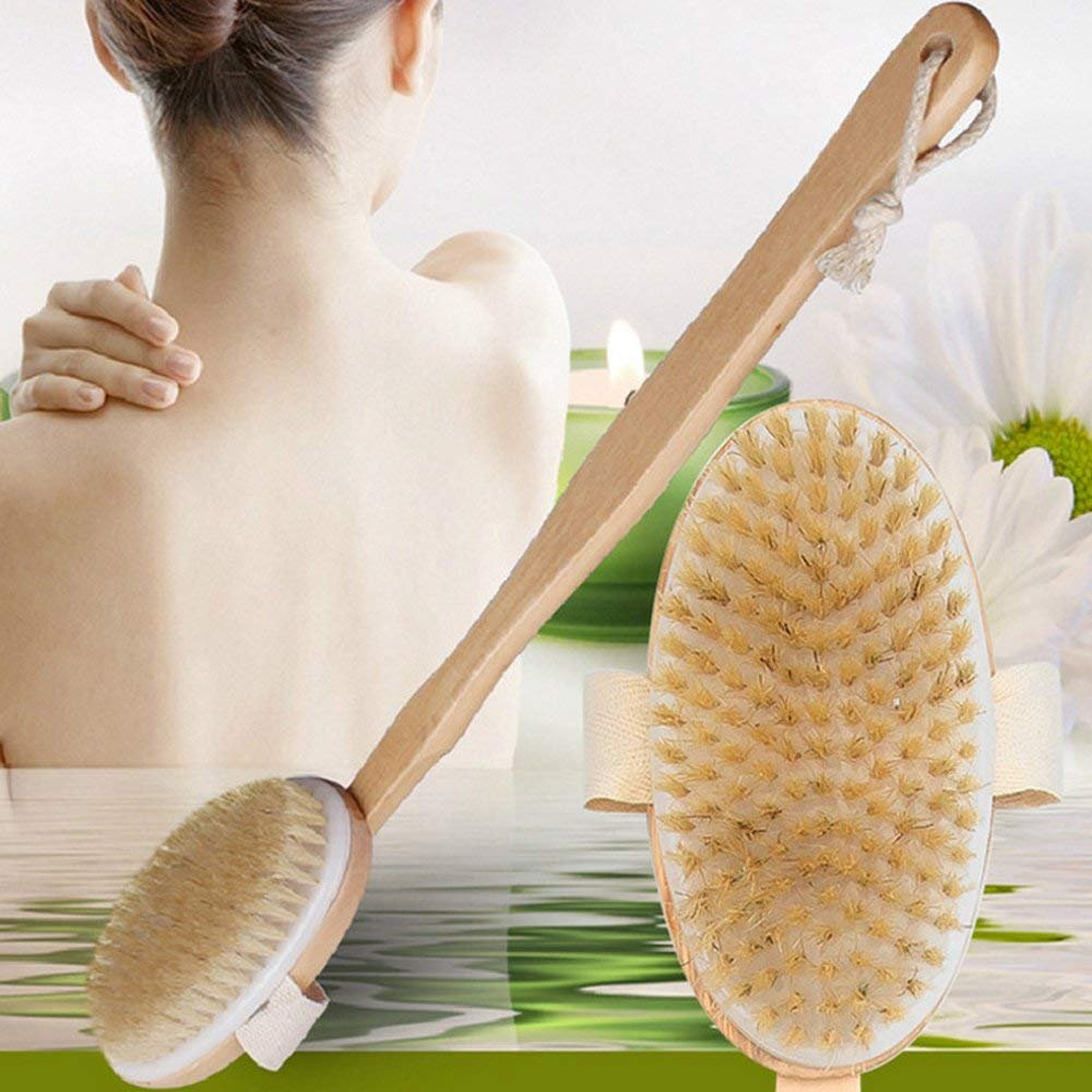 Body Bath Brush, Long Handle Natural Bristles Wooden Dry/Wet Brushes - Detachable Head - Men and Women - Skin Brushing Back Scrubber