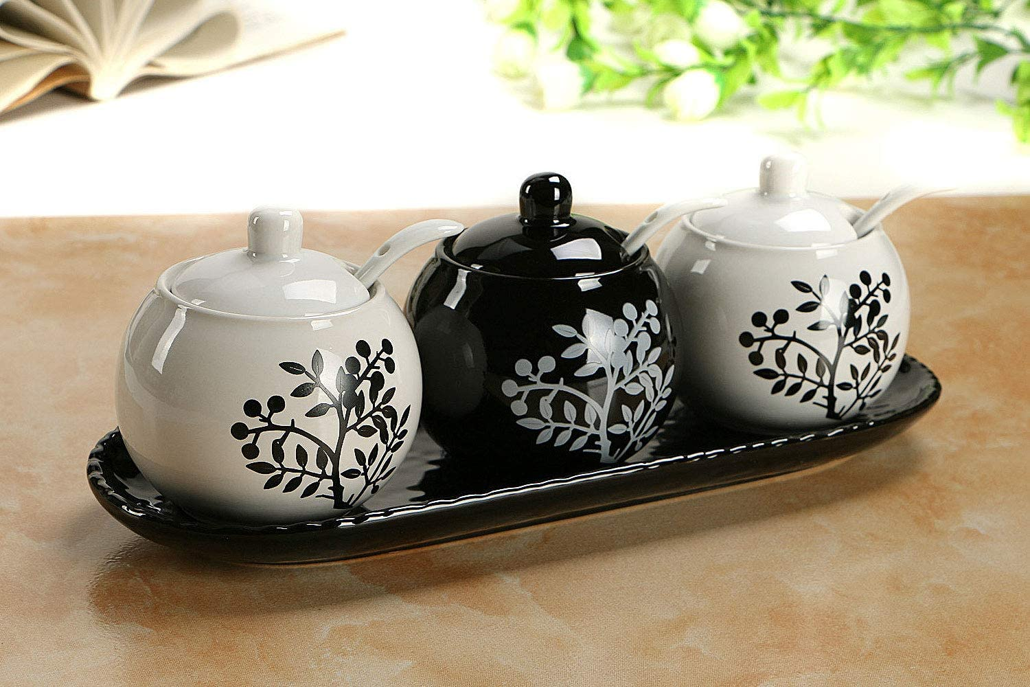 Tray and Spoons Muti-Functional Round Condiment Jar for Home Set of 3 VanEnjoy Ceramic Sugar Spice Containers Porcelain Jar with Bamboo Lids