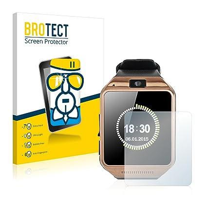BROTECT Protector Pantalla Cristal para Gearmax Smartwatch DZ09 - Cristal Vidrio 9H, AirGlass