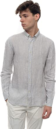 Brooksfield Camisa Casual Beige Lino Hombre: Amazon.es: Ropa y accesorios