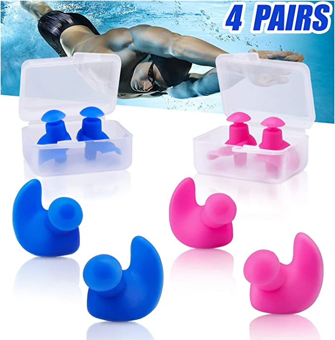 RUZYY Silicone Swimming Earplug Nose Clip Set Waterproof Protector Watertight Diving Surf Pool Accessories Box Package for Adult Kids A