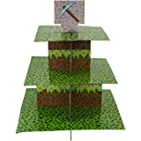 Mining Fun Cupcake Stand & Pick Kit, Pixel Decorations, Minecraft Inspired Parties, Birthdays, Party Supplies, Cake Decorations, 3 Tier Cardboard Cupcake Stand