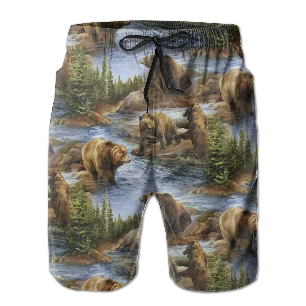 Mens Swim Trunks New Brown Grizzly Bears Wildlife Quick Dry Beach Board Shorts with Mesh Lining