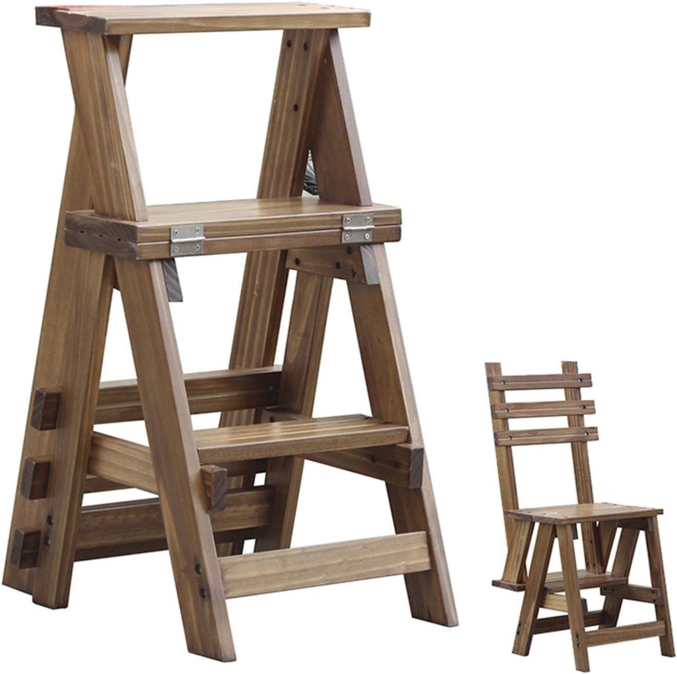 GAOJIAN Madera sólida escalera plegable de tres capas multifuncional taburete alto escalera escalera taburete hogar pequeña escalera de madera maciza de doble uso escalera plegable madera escalera: Amazon.es: Hogar
