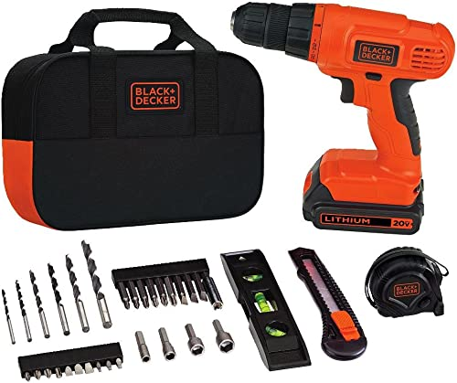 BLACK DECKER 20V MAX Drill Home Tool Kit, 34 Piece BDCD120VA